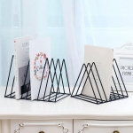 Triangle Simple Iron Metal Desktop Storage Rack Shelf File Magazine Bookend Office Rack Stationery Organizer Holder(Black)