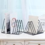 Triangle Simple Iron Metal Desktop Storage Rack Shelf File Magazine Bookend Office Rack Stationery Organizer Holder(Black)