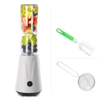 Portable Electric Juicer Blender Fruit Baby Food Milkshake Mixer Meat Grinder Double cup and double knife(White)