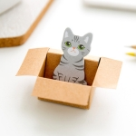 3D Kawaii Cat Box Stickers Cute Cartoon Stationery Sticky Notes(Grey Cat)