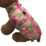 Winter Windproof Pet Dog Coat Jacket Puppy Thick Vest Clothes, Size:S(Pink Camouflage)