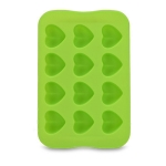 Silicone Chocolate Mold Tray Creative Geometry Shaped Ice Cube Cake decoration Mold, Shape:Heart(Green)