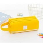 Double Zipper Large Pencil Case Kawaii School Pencilcase Big Pen Box Girls Gifts Cute Stationery Supplies(Yellow)