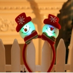 LED Christmas Decorations Shiny Double-head Buckle Party Props Children Gifts Christmas Headband(Snowman with lights )
