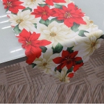 2 PCS 36x180cm Christmas Table Tablecloth Home Party  Decoration Santa Claus Tapestry Red, Color:Red White flower