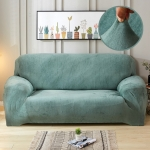 Plush Fabric Sofa Cover Thick Slipcover Couch Elastic Sofa Covers Not Include Pillow Case, Specification:4 seat 230-300cm(Cyan-Blue)