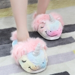 Unicorn Kawaii Home Soft Warm Mood Home Star Plush Slippers Cartoon plush Shoes Toys, Color:S