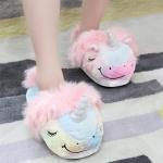Unicorn Kawaii Home Soft Warm Mood Home Star Plush Slippers Cartoon plush Shoes Toys, Color:L