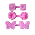 2 PCS Flower Texture Silicone Mould Petal Grain Road Four-Leaf Clover Two-Piece Pressed Ultra-Light Clay Soft Clay Tool(3 Sets)