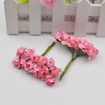 Simulation Handmade Paper Flower Rose Foam Flower DIY Mini Garland Material Kraft Paper Bag Decoration Flower(dark pink)