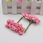 Simulation Handmade Paper Flower Rose Foam Flower DIY Mini Garland Material Kraft Paper Bag Decoration Flower(dark pink)