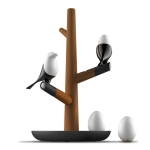Lucky Bird LED Night Table Lamp Wood Base Intelligent Motion Sensor Living Room Bedroom Desk Light(2 Birds 2 Eggs)
