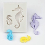 3D Mermaid Tail Silicone Molds Sugar Craft Candle Moulds DIY Craft Fondant Molds(Size Seahorse)