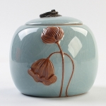Ceramic Tea Pot Lotus Shaped Sealed Storage Tank (Blue)