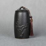 Plum Flower Pattern Stoneware Tea Cans Storage Tanks Ceramic Tea Set Tea Ceremony Accessories(Black)
