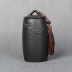 Loose Peak Pattern Stoneware Tea Cans Storage Tanks Ceramic Tea Set Tea Ceremony Accessories(Black)