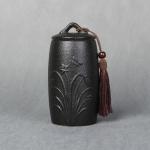 Orchid Pattern Stoneware Tea Cans Storage Tanks Ceramic Tea Set Tea Ceremony Accessories(Black)
