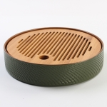 Household Simple Round Bamboo Tea Tray Mini Tea Table, Diameter: 21.5cm (CP27-1)
