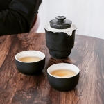 4 in 1 Teapot + Two Tea Cups + Storage Box Portable Travel Coarse Pottery Kung Fu Tea Set (Black)