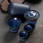 6 in 1 Temmoku Portable Travel Kung Fu Teaware Tea Cup Set