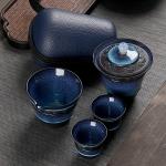 6 in 1 Temmoku Portable Travel Kung Fu Teaware Tea Cup Set