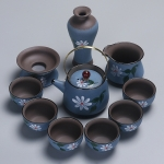 Redware Hand-painted Portable Travel Kung Fu Teaware Tea Cup Set (Blue)