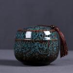 Kiln Transmutation Ceramic Mini Tea Pot Storage Moisture-proof Can Sealed Tea Tank (Blue)