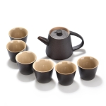 Ceramic Purple Sand Ice Cracked Glaze Kung Fu Teaware Set (Black)