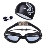 High-definition Waterproof Fogproof Swimming Goggles with Swimming Cap (Black)