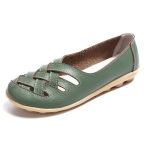 Hollow Woven Casual Nurse Shoes Cover Foot Peas Shoes for Women (Color:Green Size:40)