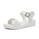 Buckle Bright Beads Comfortable Wild Sandals for Women (Color:White Size:36)