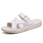 Simple Flat Bottom Buckle Candy Color Sandals for Women (Color:White Size:39)