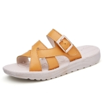 Simple Flat Bottom Buckle Candy Color Sandals for Women (Color:Yellow Size:35)