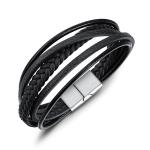 OPK Hand-woven Multi-layer Creative Ethnic Style Leather Bracelet for Men (Black)