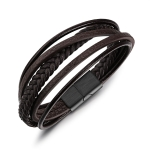 OPK Hand-woven Multi-layer Creative Ethnic Style Leather Bracelet for Men (Brown)