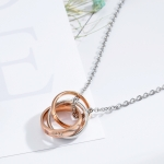 OPK Classic Love Merges Love Couple Necklace with Chain (Rose Gold)