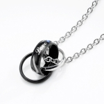 OPK Classic Love Merges Love Couple Necklace Pendant without Chain (Black)