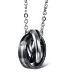 OPK Interlocking Titanium Steel Couple Necklace (Black)