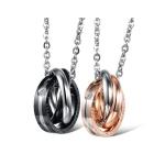 OPK 2 PCS Ring Interlocking Titanium Steel Couple Necklace