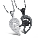 OPK 2 PCS Heart and Heart Black and White Puzzle Couple Necklace