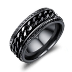 OPK Titanium Steel Personality Trend Hip Hop Ring for Men (Color:Black Size:7)