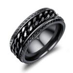 OPK Titanium Steel Personality Trend Hip Hop Ring for Men (Color:Black Size:8)