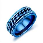 OPK Titanium Steel Personality Trend Hip Hop Ring for Men (Color:Blue Size:8)