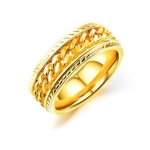 OPK Titanium Steel Personality Trend Hip Hop Ring for Men (Color:Gold Size:7)
