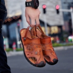 Youth Trend First Layer Cowhide Two-wear Outdoor Casual Sandals Slippers for Men (Color:Dark Brown Size:38)