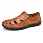 Comfortable Soft Non-slip Wear-resistant Outdoor Upstream Beach Shoes for Men (Color:Dark Brown Size:43)