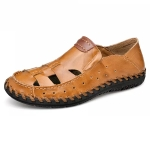 Comfortable Soft Non-slip Wear-resistant Outdoor Upstream Beach Shoes for Men (Color:Light Brown Size:39)