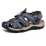 First Layer Cowhide Flexible and Comfortable Outdoor Casual Beach Sandals for Men (Color:Blue Size:44)