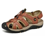 First Layer Cowhide Flexible and Comfortable Outdoor Casual Beach Sandals for Men (Color:Brown Size:44)