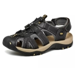 First Layer Cowhide Flexible and Comfortable Outdoor Casual Beach Sandals for Men (Color:Black Size:40)